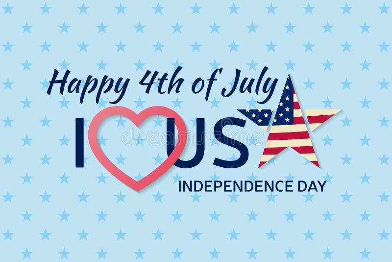 ô do fundo de julho Quarto do cartão do clássico da congratulação de julho Cartão feliz do Dia da Independência dos EUA Bandeira  ilustração do vetor