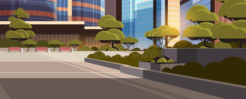 Do fundo moderno alto da arquitetura da cidade dos arranha-céus da skyline do por do sol da rua da cidade de Beautifil bandeira h ilustração do vetor