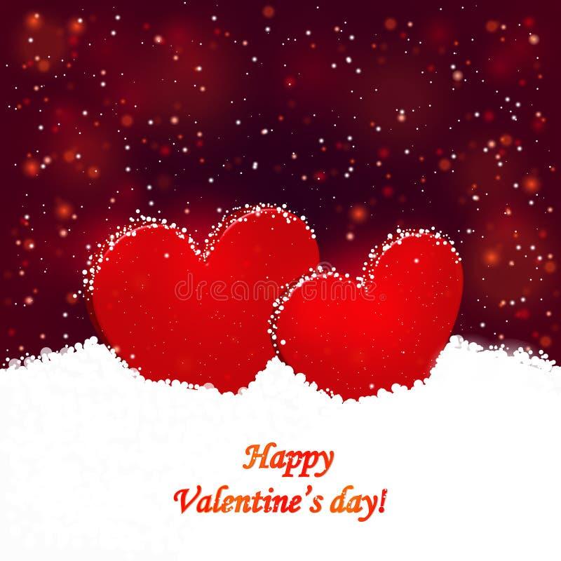 Do fundo os dois corações de Valentim o dia e na neve foto de stock