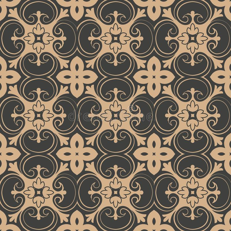 Do fundo retro sem emenda do teste padrão do damasco do vetor caleidoscópio espiral da flor da videira da folha do jardim botânic ilustração royalty free