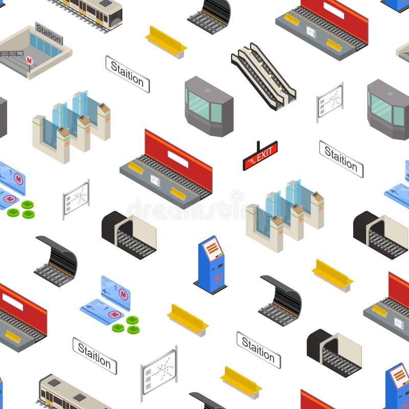 Do fundo sem emenda do teste padrão da estação de metro 3d opinião isométrica Vetor ilustração stock