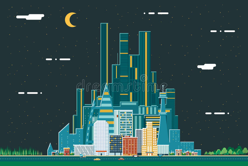 Do fundo urbano do verão de Real Estate da cidade da paisagem da noite ilustração lisa do vetor do molde do ícone do conceito de  ilustração do vetor
