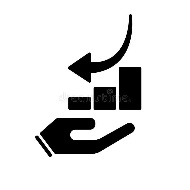 Do gráfico da carta ícone para baixo à disposição Para baixo símbolo da seta ilustração stock