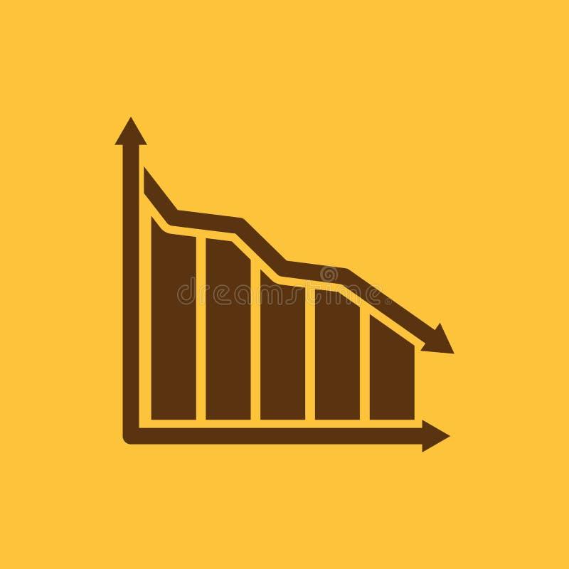 Do gráfico o ícone para baixo Carta abaixo e perda, símbolo da redução liso ilustração stock