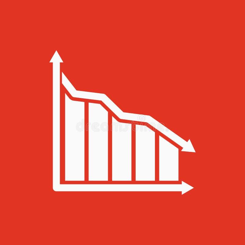 Do gráfico o ícone para baixo Carta abaixo e perda, símbolo da redução liso ilustração do vetor