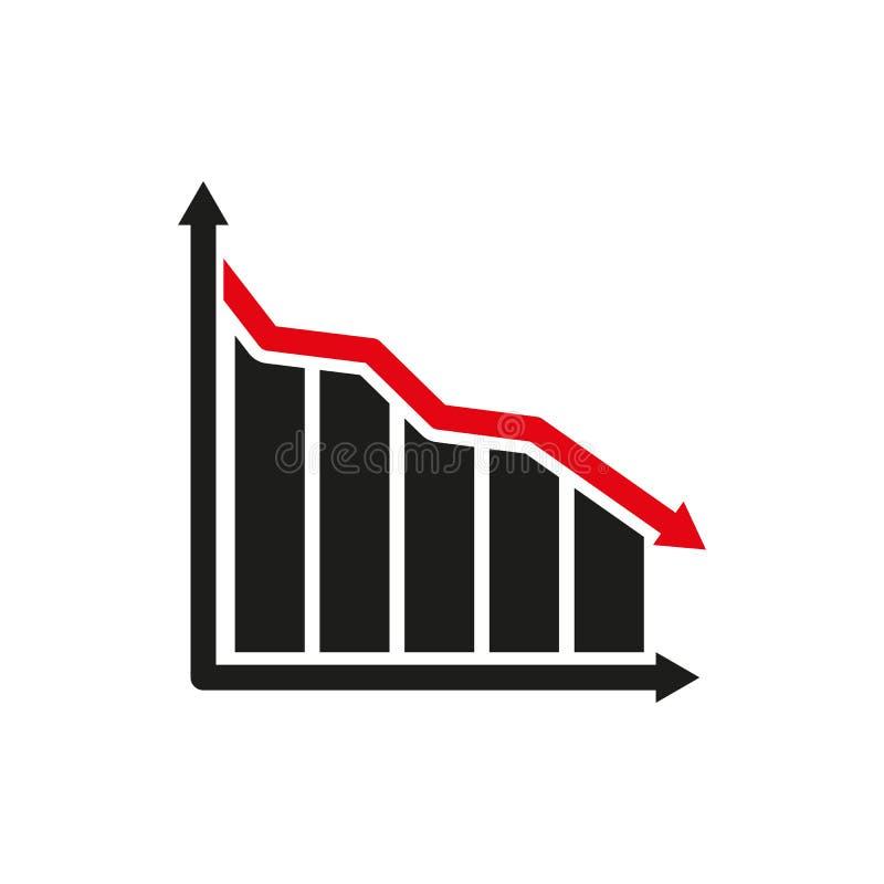 Do gráfico o ícone para baixo Carta abaixo e perda, símbolo da redução liso ilustração royalty free