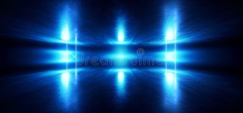 Do Grunge azul vibrante claro do fundo do clube noturno da fase de Sci Fi túnel escuro concreto de incandescência de néon Hall Co ilustração royalty free