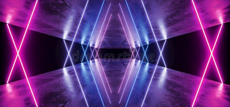 Do Grunge escuro fluorescente virtual caótico azul do sumário do laser do roxo de Sci Fi da fase da nave espacial túnel concreto  ilustração royalty free