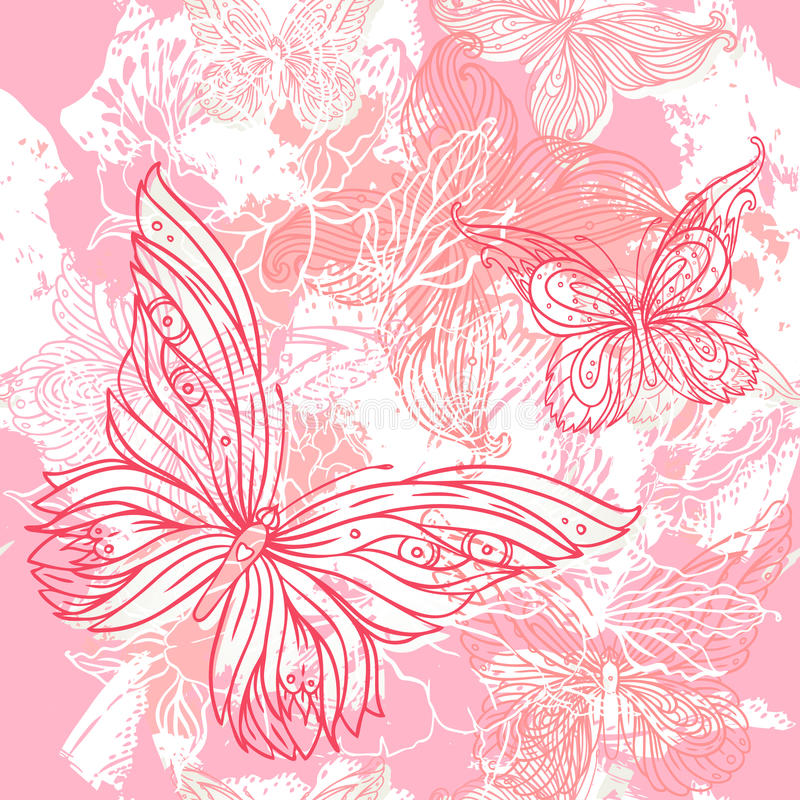Do grunge floral cor-de-rosa do casamento do vetor teste padrão sem emenda ilustração do vetor