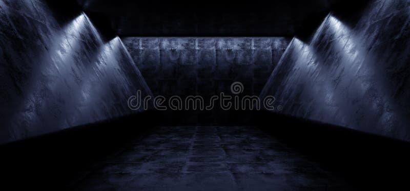 Do Grunge reflexivo vazio escuro estrangeiro futurista do navio de Sci Fi do Cyber túnel abstrato concreto Hall Room Dimmed 3D do ilustração do vetor