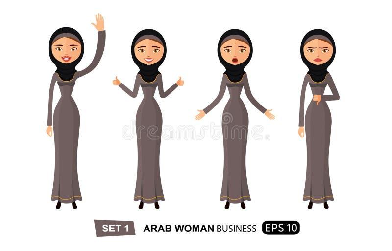 Do grupo árabe das mulheres das emoções vetor feliz de ondulação dos desenhos animados da mão adeus isolado no branco ilustração stock