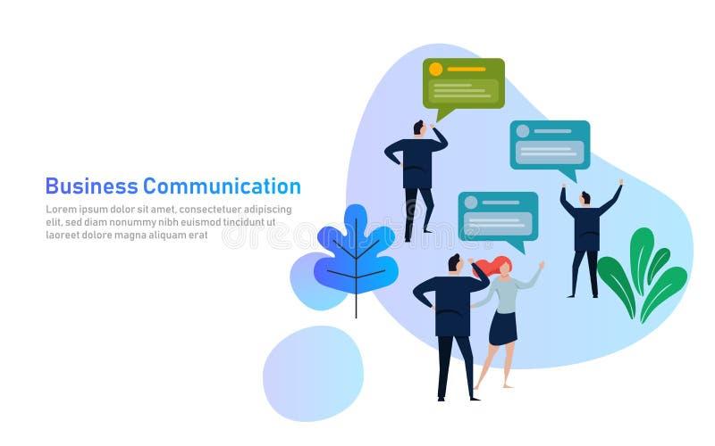 Do grupo do bate-papo executivos da bolha de uma comunicação, discutindo a ilustração social do vetor da rede de uma comunicação  ilustração stock