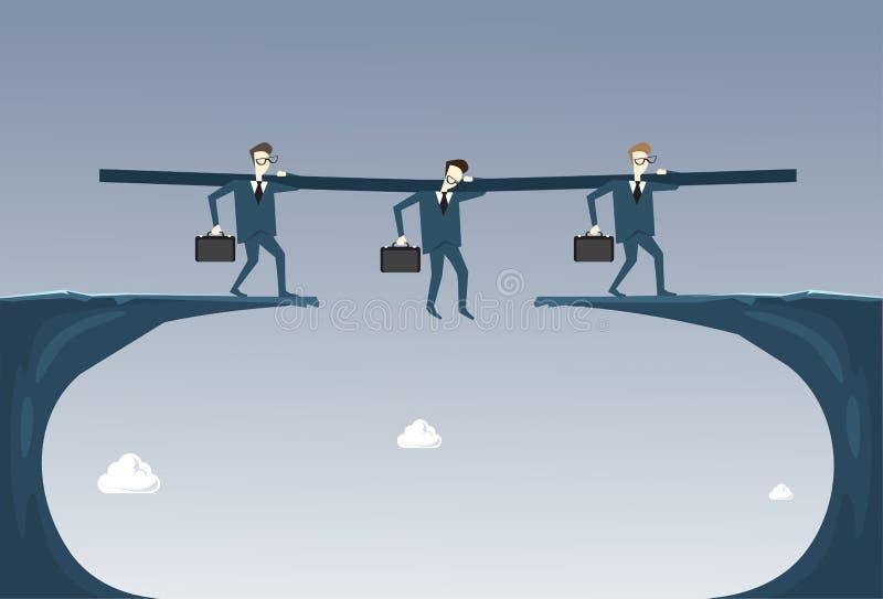 Do grupo da posse do homem de negócios executivos do conceito de Hanging Over Cliff Partner Support Businesspeople Risk ilustração do vetor