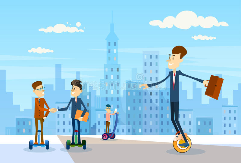 Do grupo do passeio de Segway executivos do transporte moderno do 'trotinette' bonde sobre o fundo grande da cidade liso ilustração royalty free