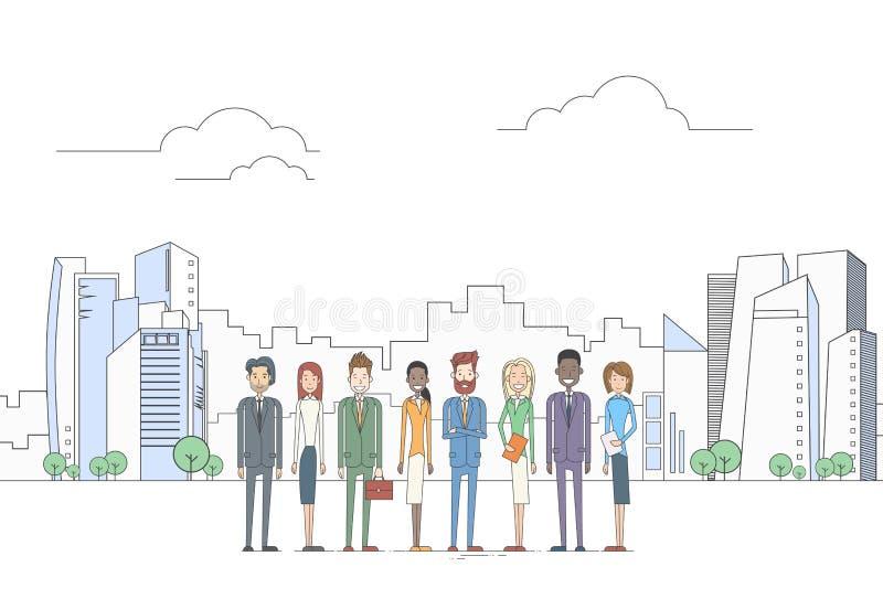 Do grupo dos executivos executivos de opinião de Team Coworkers Over Big City ilustração stock