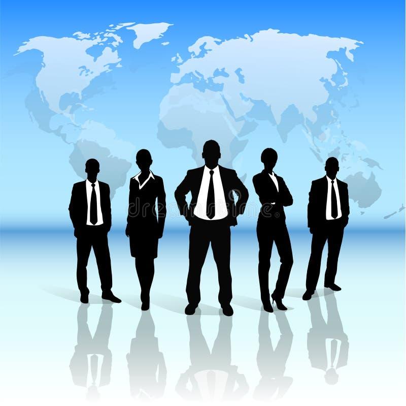Do grupo executivos da silhueta do preto sobre o mundo ilustração do vetor