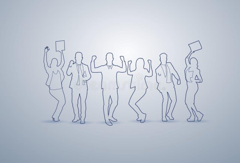 Do grupo executivos dos executivos felizes Team Successful Businesspeople Teamwork Concept da silhueta ilustração do vetor