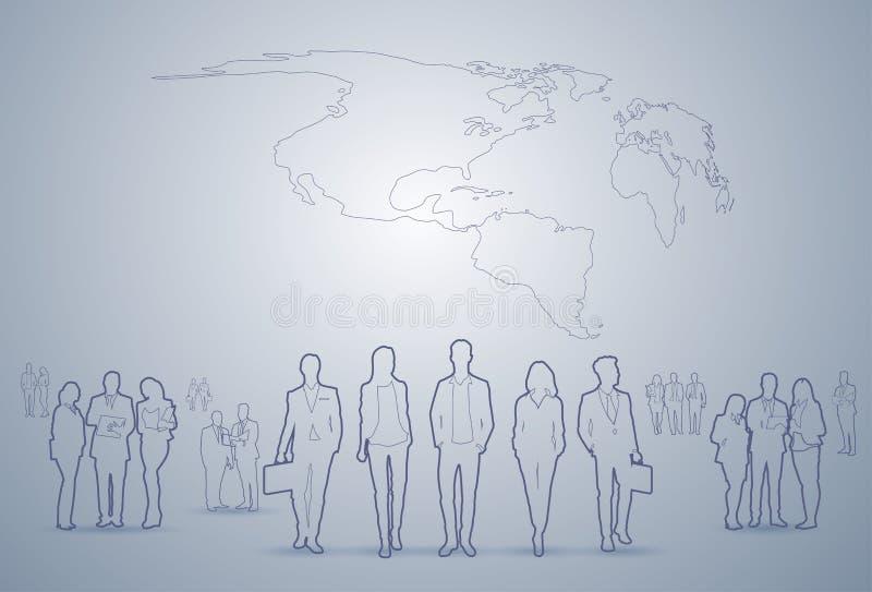 Do grupo executivos dos executivos Team Businesspeople Teamwork Concept da silhueta ilustração do vetor