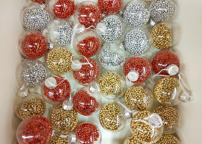 Transparent balls on the Christmas tree stock photography