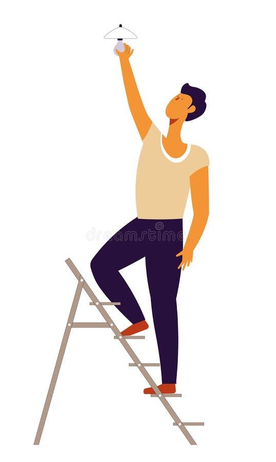 Do homem da reparação e da fixação trabalhador manual dos problemas em casa na escada ilustração royalty free