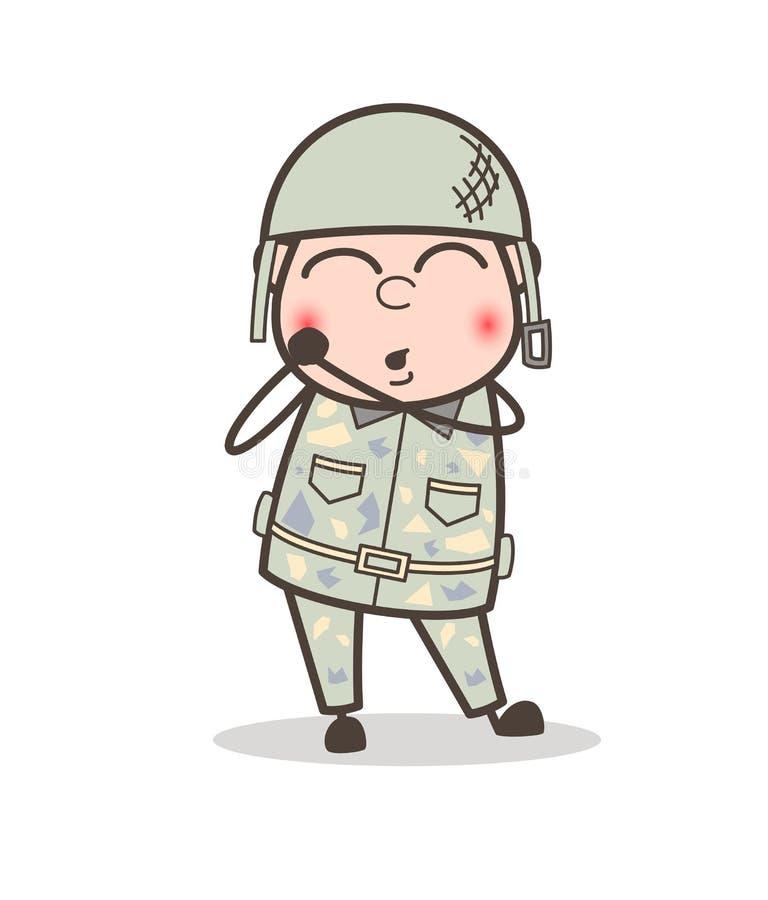 Do homem tímido do exército dos desenhos animados ilustração de cora do vetor da cara ilustração do vetor