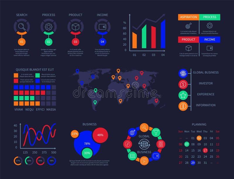 Do hud infographic da tecnologia da análise das cartas do painel de controle gráfico interativo dos diagramas da interface de usu ilustração stock