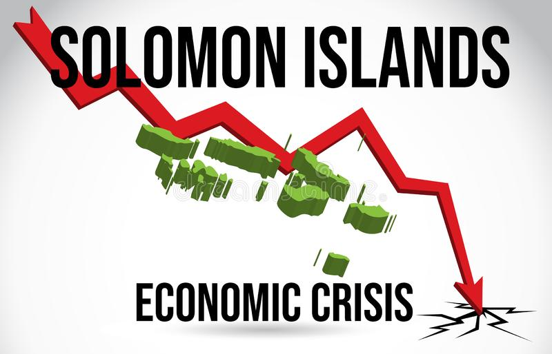 Do impacto econ?mico do mercado do colapso de Solomon Islands Map Financial Crisis vetor global da fus?o ilustração stock
