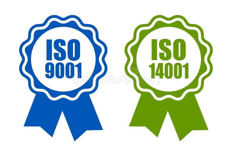 Do Iso 9001 e 14001 ícone certificado padrão ilustração do vetor