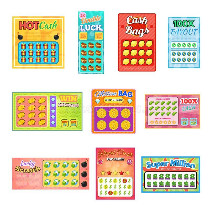 Do jackpot afortunado do jogo do loto da possibilidade da vitória do cartão do bingo do vetor do bilhete de loteria bilhetes de l ilustração stock