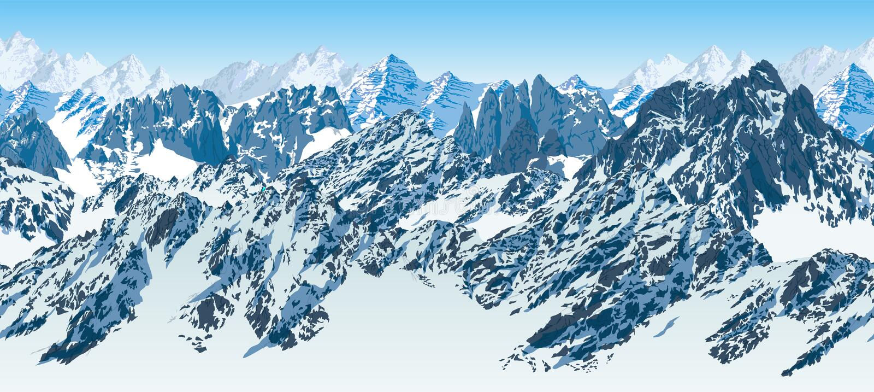 Do karakoram sem emenda das montanhas de Paquistão do vetor panorama Himalaia ilustração stock