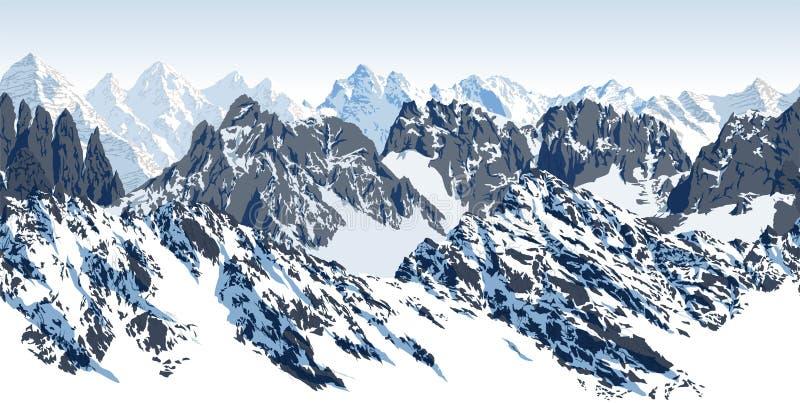Do karakoram sem emenda das montanhas do vetor panorama Himalaia ilustração royalty free