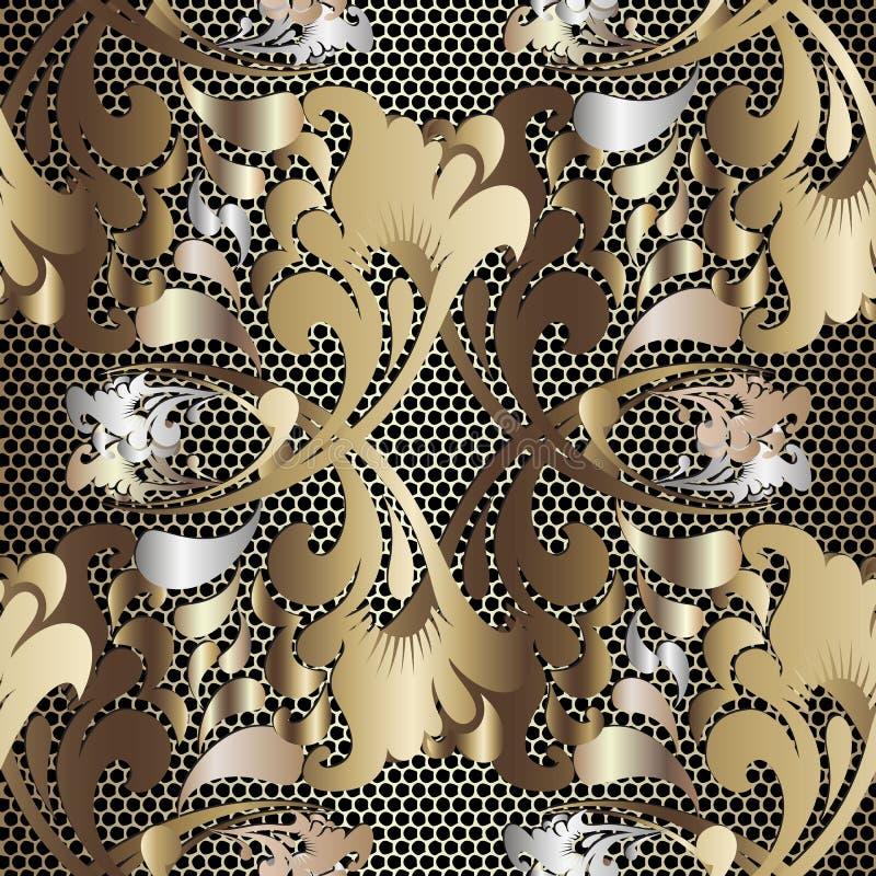 Do laço floral étnico do estilo do russo do ouro 3d teste padrão sem emenda Fundo Textured da elegância da estrutura da grade Dam ilustração do vetor