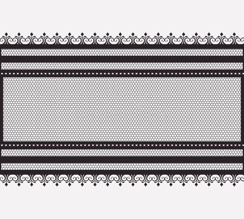 Do laço sem emenda horizontal largamente na silhueta monocromática ilustração do vetor