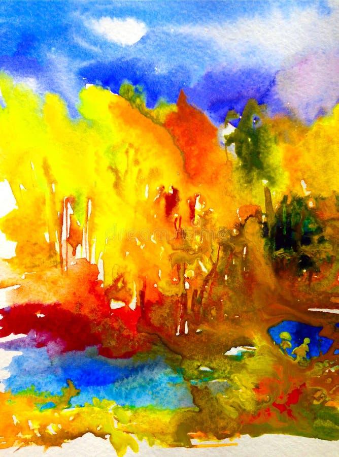 Do lago vermelho da floresta da paisagem do outono do amarelo do verde azul do fundo do sumário da arte da aquarela colorido exte foto de stock royalty free