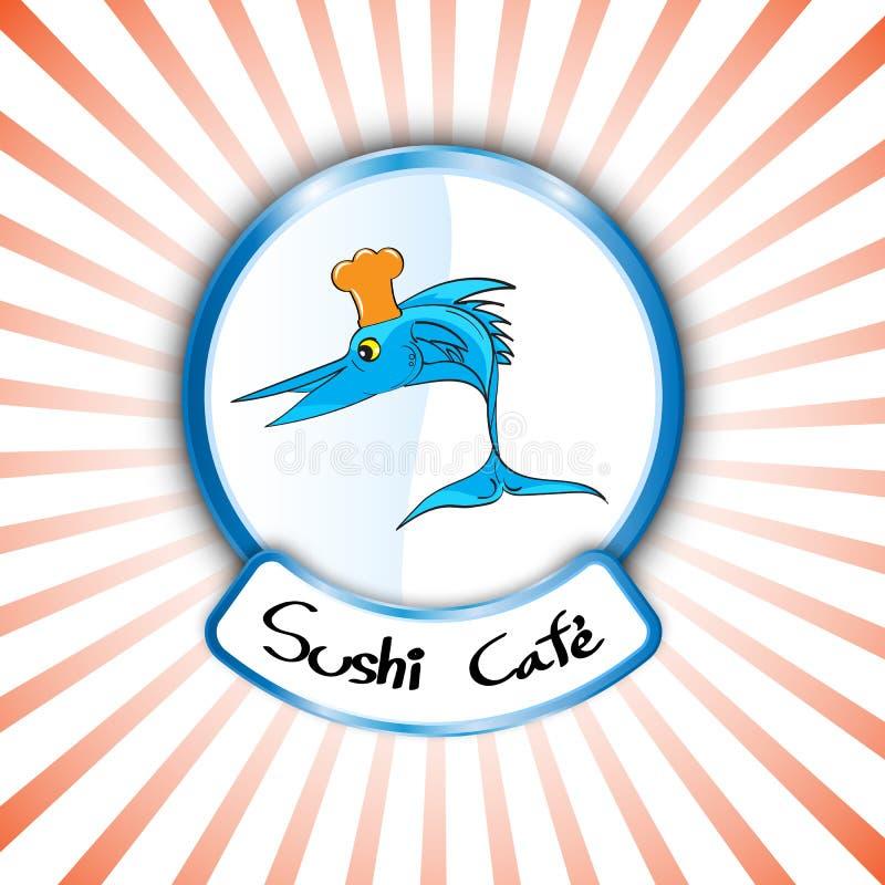 Do logotipo abstrato da loja do sushi do sinal do vetor peixes frescos que cozinham o projeto ilustração royalty free