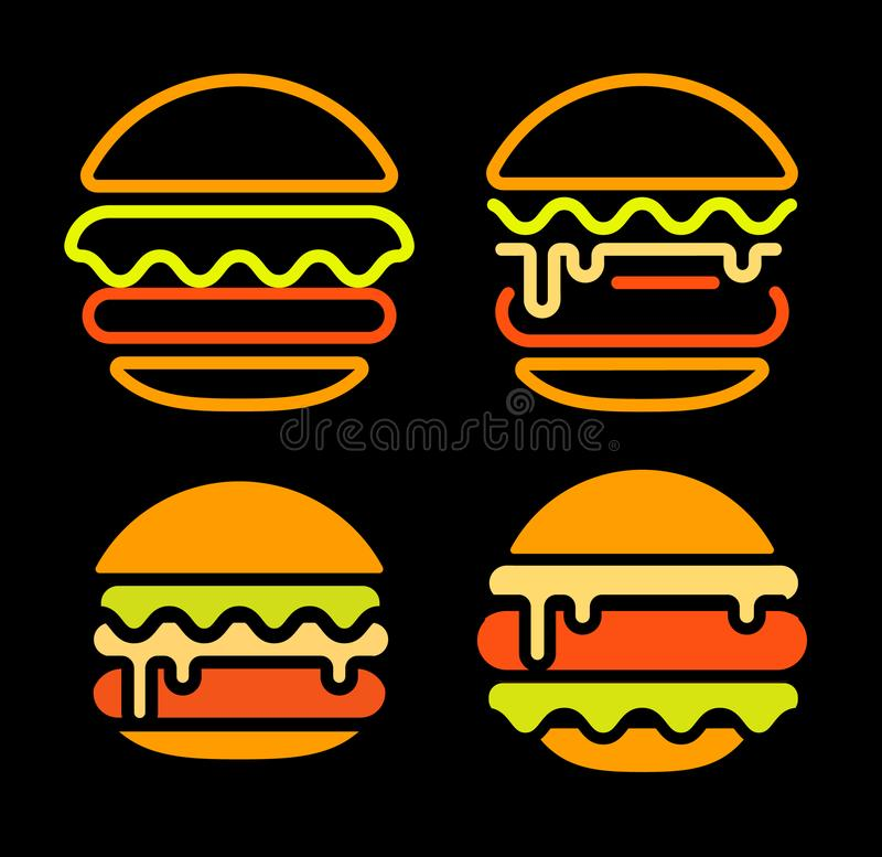 Do logotipo abstrato do vetor do esboço do hamburguer o molde ajustado, fast food isolou a linha de néon coleção estilizada do íc ilustração do vetor