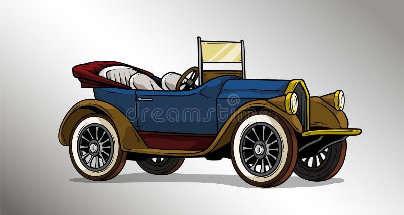 Do luxo retro do vintage dos desenhos animados carro convertível ilustração stock