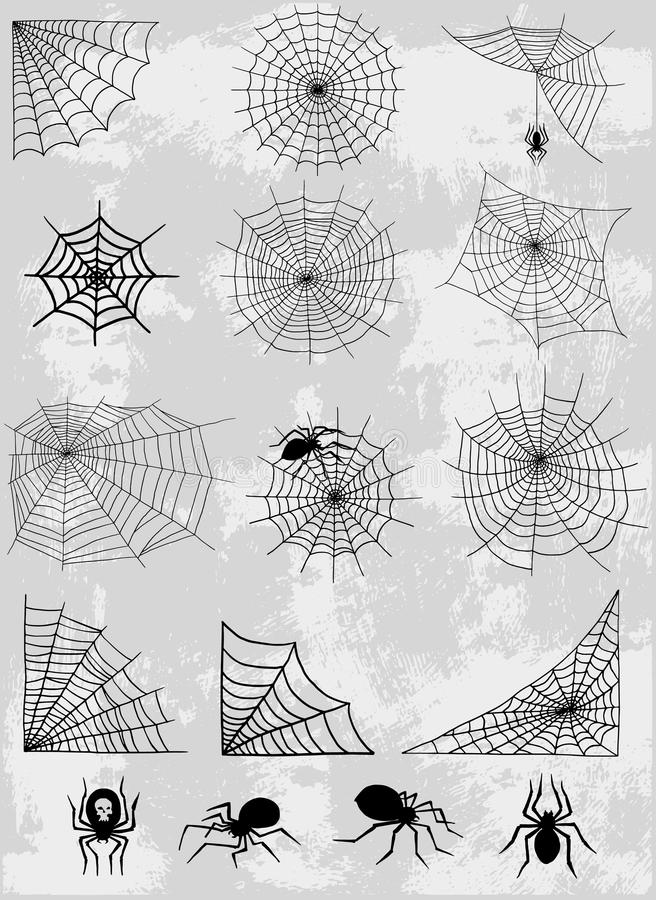 Do medo assustador da decoração da teia de aranha do elemento do Dia das Bruxas da natureza da silhueta do vetor da rede da Web d ilustração royalty free