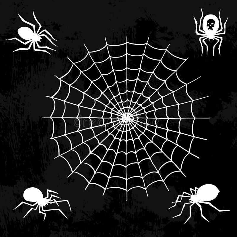 Do medo assustador da decoração da teia de aranha do elemento do Dia das Bruxas da natureza da aranha da silhueta da Web do vetor ilustração royalty free