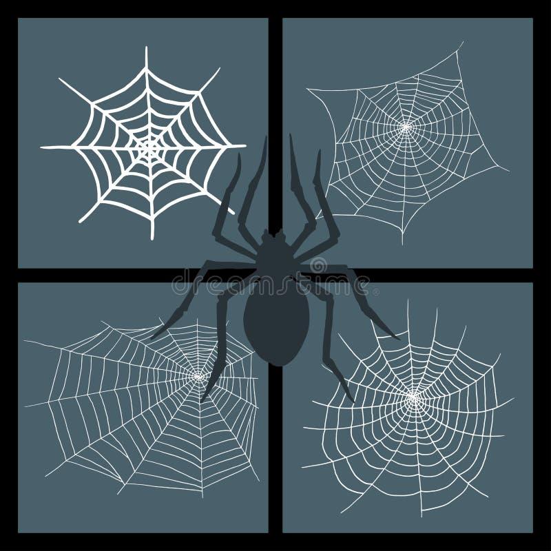 Do medo assustador da decoração da teia de aranha do elemento do Dia das Bruxas da natureza da silhueta da Web do vetor das aranh ilustração do vetor