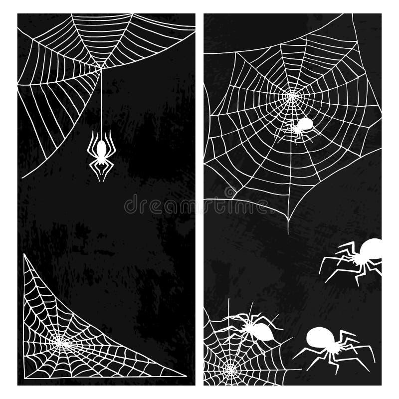 Do medo assustador da decoração da teia de aranha do elemento do Dia das Bruxas da natureza da silhueta da Web do vetor das aranh ilustração stock