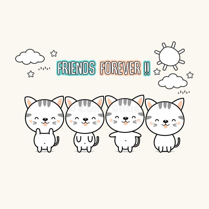 Do melhor amigo desenhos animados dos gatos para sempre ilustração do vetor