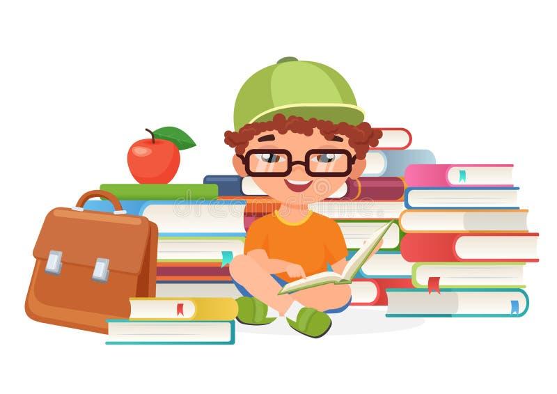 Do menino do aluno de leitura dos livros ilustração do vetor apenas ilustração do vetor