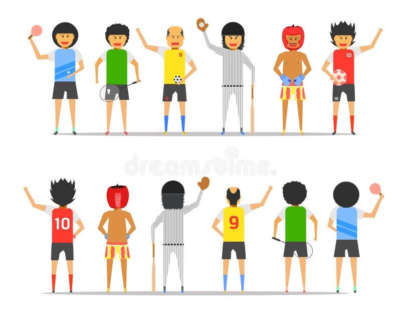 Do menino do homem do grupo da amizade do esporte ilustração dianteira-para trás ep10 do vetor da opinião junto ilustração royalty free