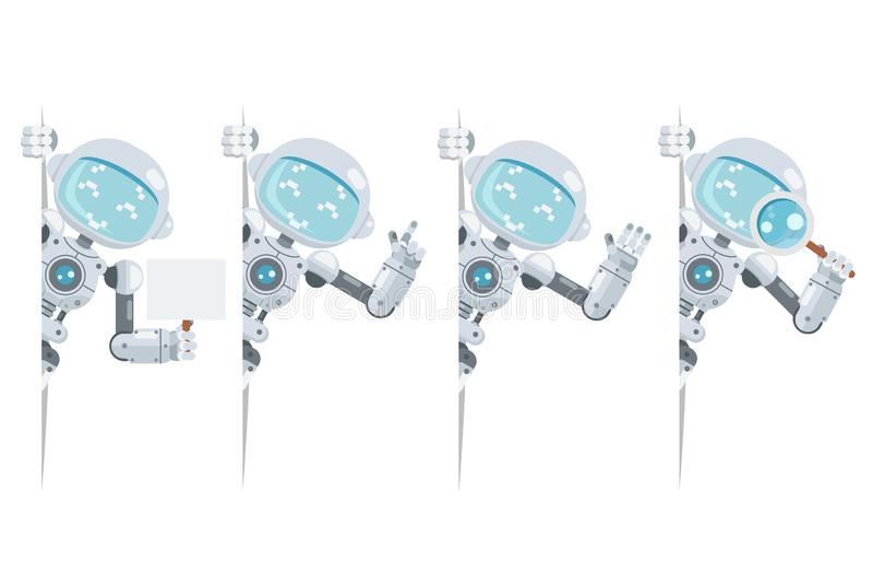 Do menino vetor liso do projeto do robô do androide do olhar da relação futurista artificial bonito adolescente da informação da  ilustração royalty free