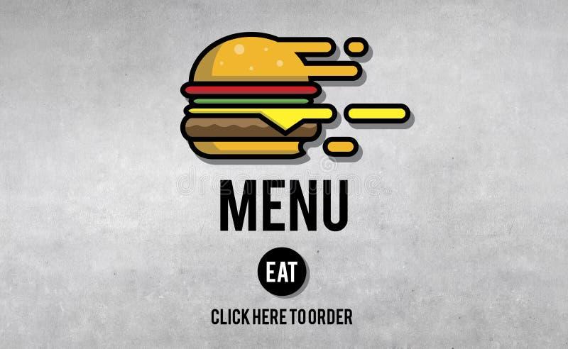 Do menu do restaurante da ordem conceito em linha do fast food do hamburguer agora fotos de stock