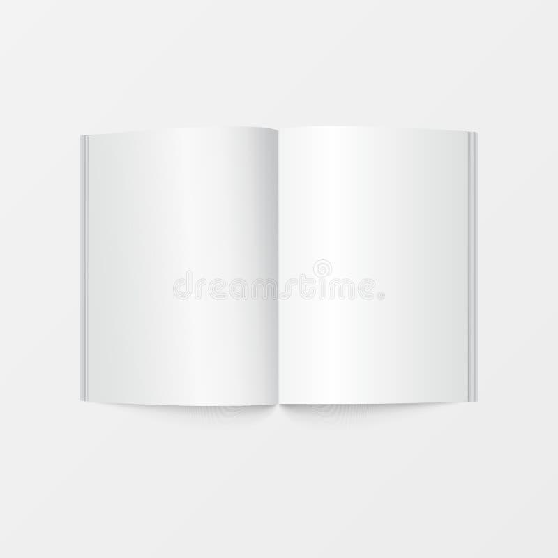 do molde aberto do livro do modelo 3d opinião superior Cor branca vazia da brochura isolada no fundo branco para imprimir o proje ilustração do vetor
