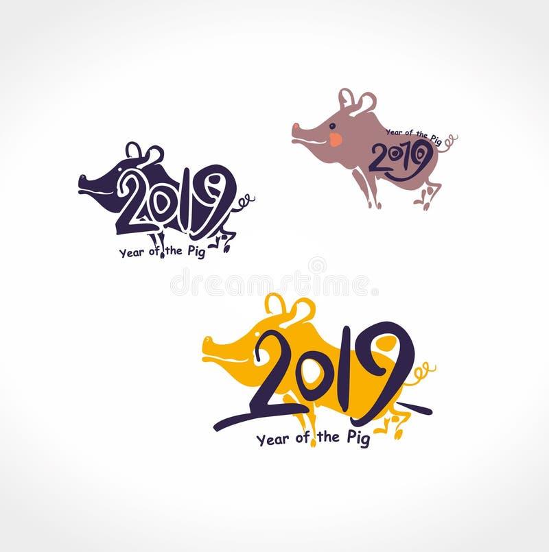 Do molde chinês do calendário do porco 2019 figuras escritas à mão ilustração do vetor