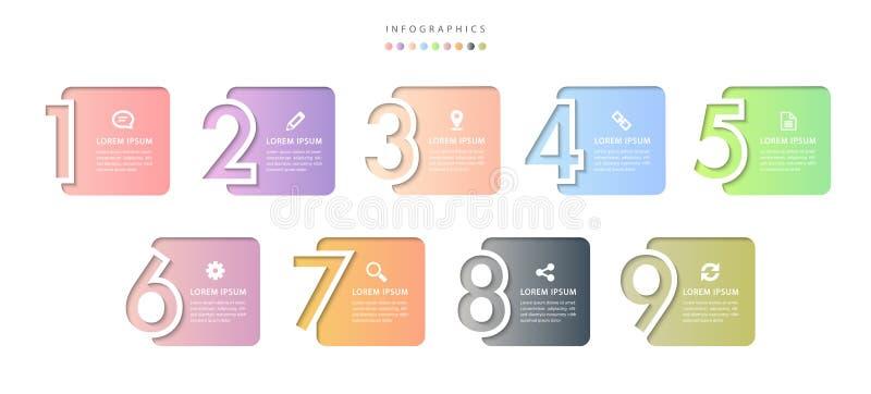 Do molde infographic do projeto UI do vetor etiquetas e ?cones coloridos do n?mero do relevo do inclina??o 9 ilustração stock