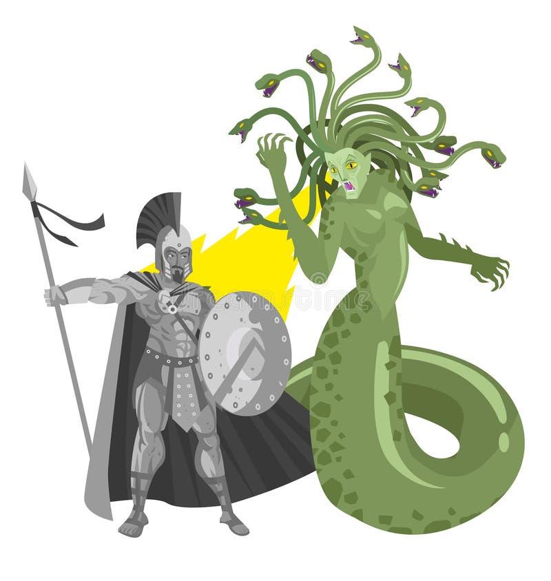 Do monstro romano grego mitológico da mulher da serpente do gorgon do Medusa perseus de giro à pedra ilustração royalty free